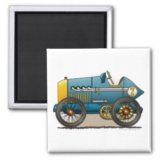 Blue Vintage Race Car Magnets
