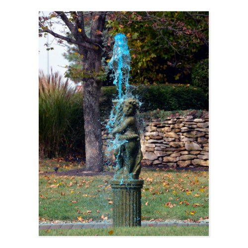 Blue Water Fountain Cherub Postcard