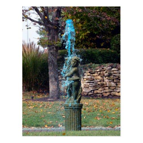 Blue Water Fountain Cherub Postcard