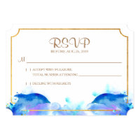Blue Watercolor Dolphin RSVP Card