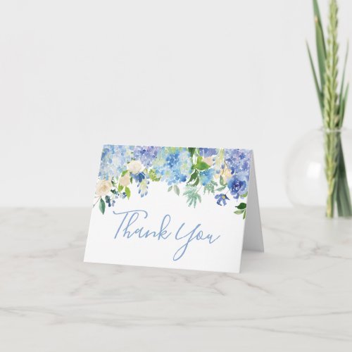 Blue Watercolor Floral Thank You Note Card