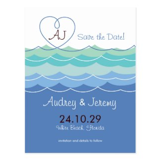 Blue Waves Loopy Heart Beach Modern Save The Date Post Cards