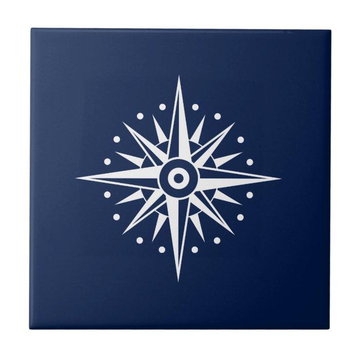 blue white ceramic tile nautical star compass tile zazzle com