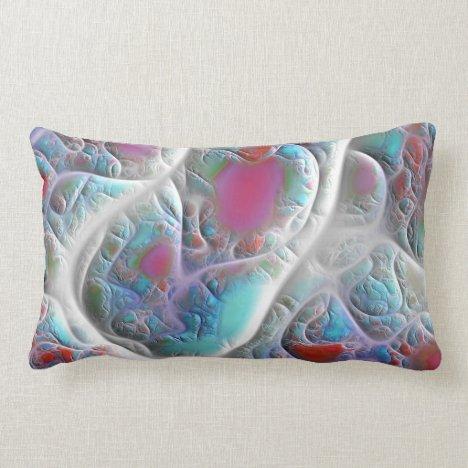 Blue & White Quilt - Magenta & Aqua Delight Lumbar Pillow