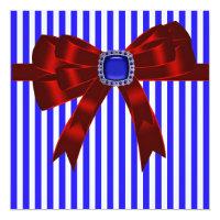 Blue White Stripe Company Picnic BBQ Card