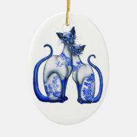 Blue Willow Siamese Cats Ceramic Ornament