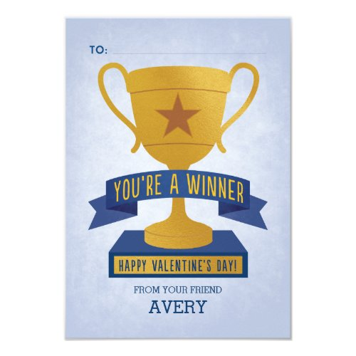 Blue Winner's Trophy Classroom Valentine Card
