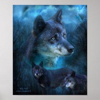 Blue Wolf Art Poster/Print