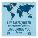 Blue World Map Motivational Life Typography Quote Poster