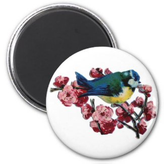 Bluebird and Cherry Blossoms Magnets