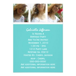 Bluish Green And White: Picture Party Invitation
