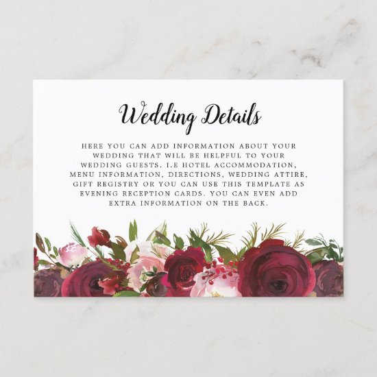Blush Burgundy Floral Wedding Details Enclosure Card