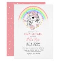 Blush Coral Pink Unicorn Baby Shower Invite