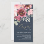 BLUSH NAVY RED ROSE FLORAL COUPLES SHOWER INVITE