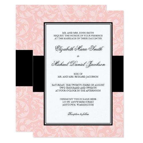 Blush Pink and Black Damask Swirl Wedding Invitation