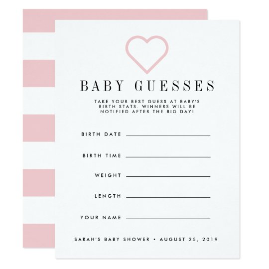 Blush Pink Baby Shower Guessing Game Card Zazzle