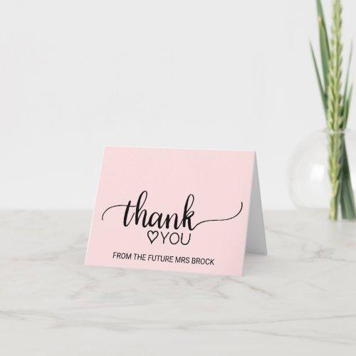 Blush Pink Calligraphy Bridal Shower Thank You