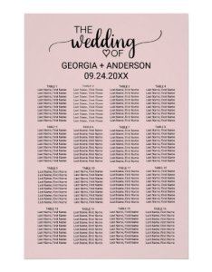 Blush pink calligraphy wedding seating chart also rh zazzle