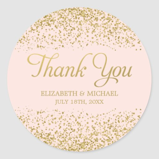 Blush Pink Faux Gold Glitter Wedding Thank You Classic Round Sticker