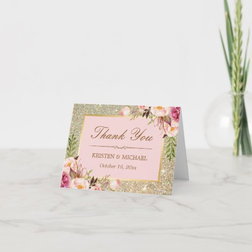 Blush Pink Floral Gold Glitter Sparkles Thank You