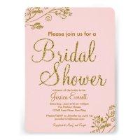 "Blush Pink Gold Glitter Bridal shower Invitation 5"" X 7 ..."