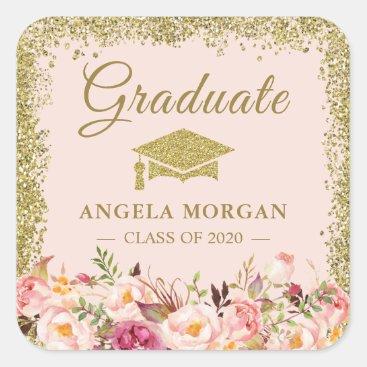 Blush Pink Gold Glitters Floral Graduation Favor Square Sticker