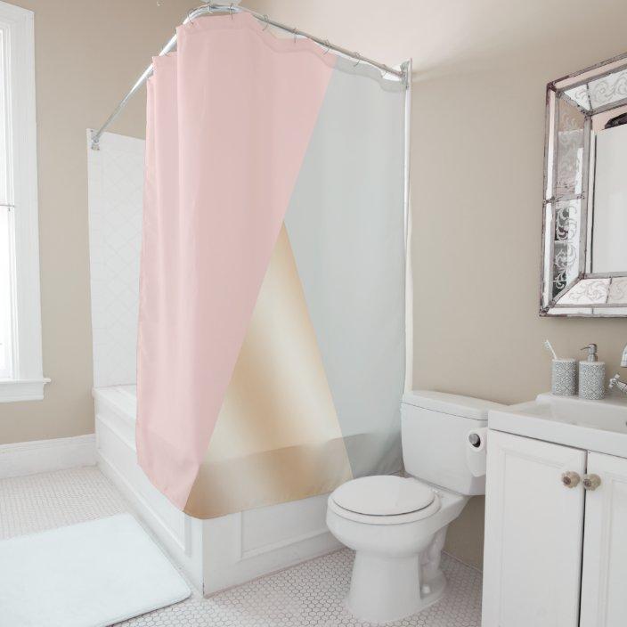 blush pink grey rose gold geometric triangles shower curtain zazzle com