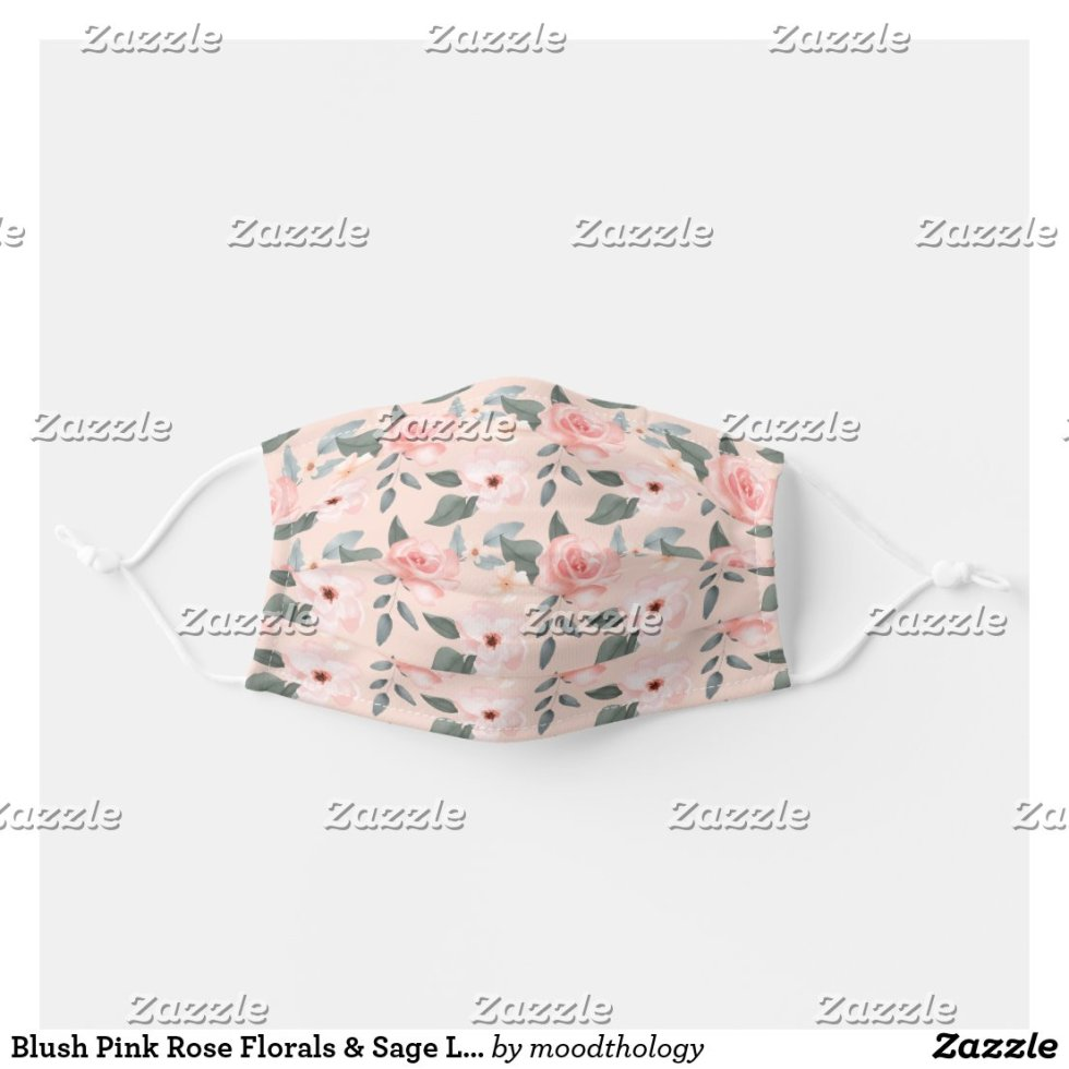 Blush Pink Rose Florals & Sage Leaf Foliage Pink Cloth Face Mask