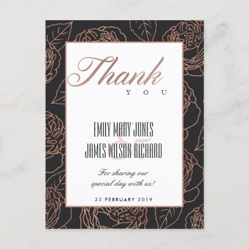 BLUSH PINK ROSE GOLD BLACK FLORAL THANK YOU ANNOUNCEMENT POSTCARD