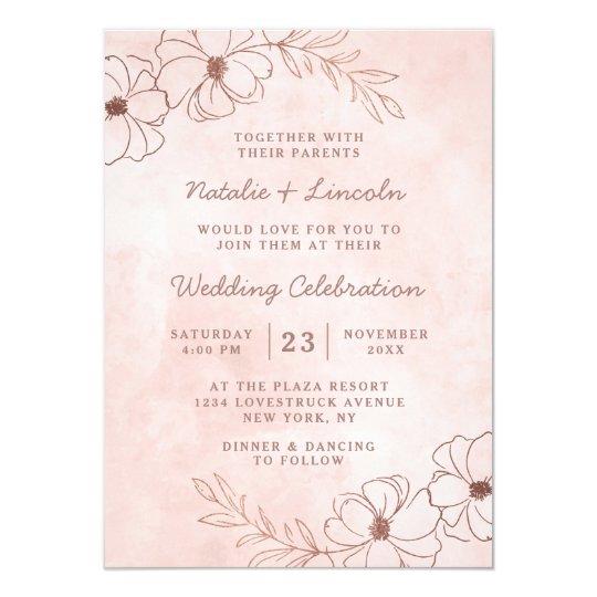 Blush Pink Rose Gold Chic Fl Border Wedding Invitation
