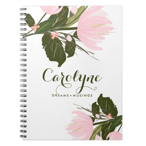 Blush Pink Tulips Personalized Notebook