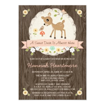 BLUSH PINK WOODLAND DEER BABY SHOWER CARD