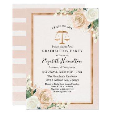 Blush & Rose Gold Law School Graduation Party Invitation