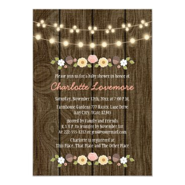 Blush String of Lights Fall Rustic Baby Shower Card