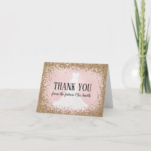 Blushing Glitter Bride Future Mrs. Thank You Card
