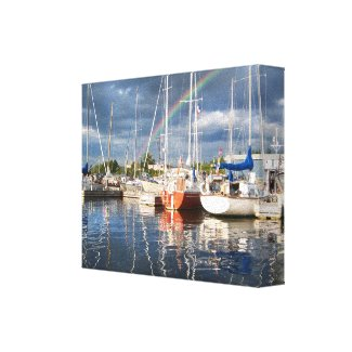 Boat Dock at Marina Photograph Gallery Wrapped Canvas