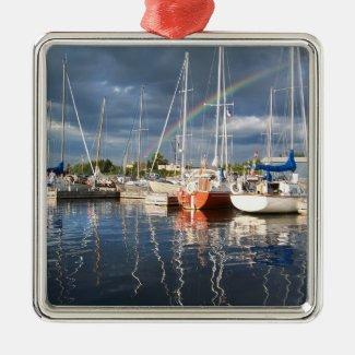 Boat Dock at Marina Photograph Christmas Ornaments