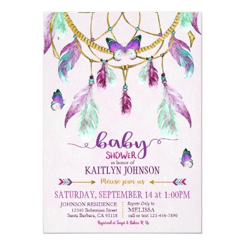 Bohemian American Indian Dream Catcher Baby Shower Invitation