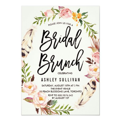 Bohemian Feathers and Floral Wreath Bridal Brunch Card