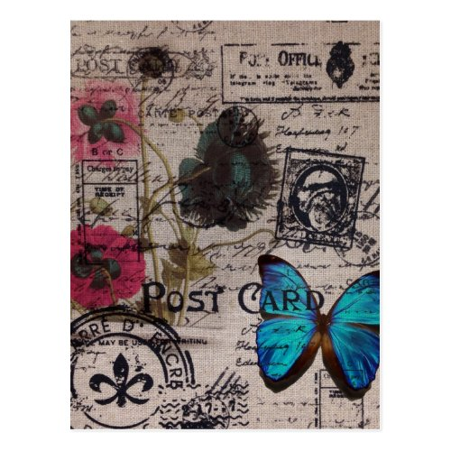bohemian french country blue butterfly scripts postcard