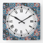 Bohemian Paisley Print in Blue and Red Square Wall Clock