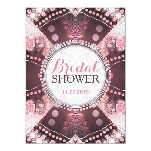 Bohemian Patchwork Pink Bridal Shower Invites