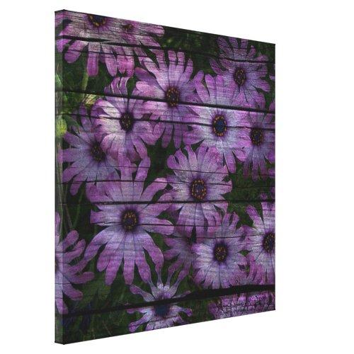 Bohemian Western Country Barn Board purple daisy Canvas Print