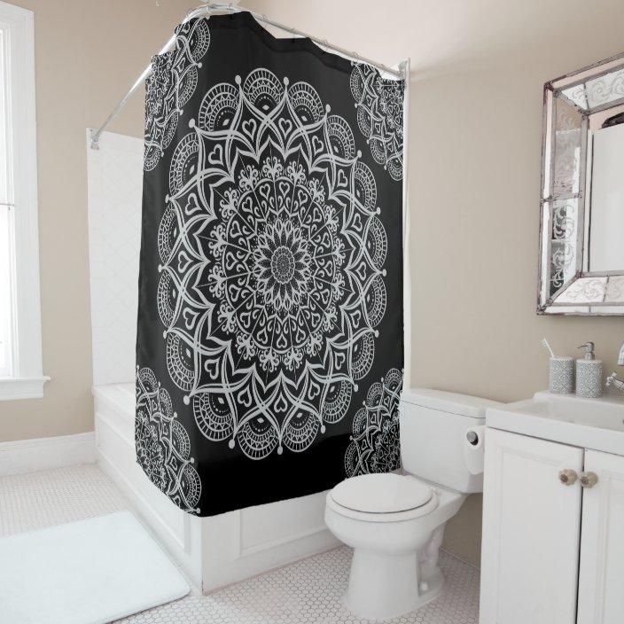 boho black and gray mandala shower curtain zazzle com