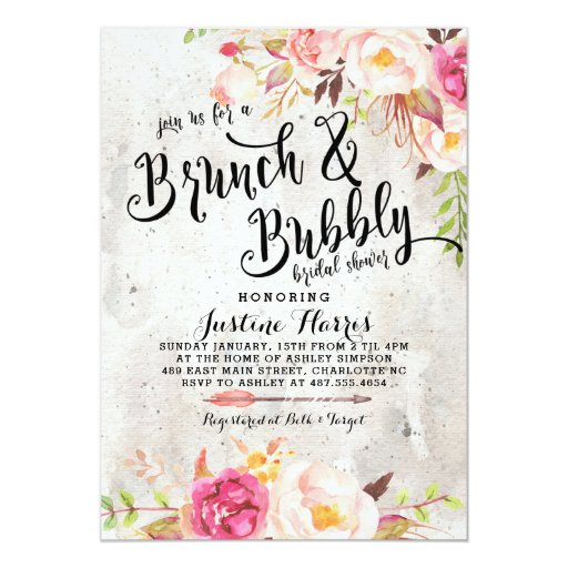 Boho Brunch and bubbly Bridal Shower Invitation