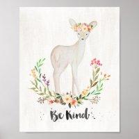 Boho Chic Watercolor Deer, Be Kind - Wall Art | Zazzle