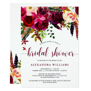 Boho Fl Bridal Shower Invitation