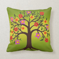 Boho Flowering Tree Throw Pillow