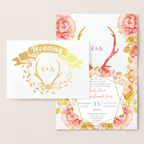 Boho Pink Blush Rose Gold Antler Wedding Real Gold Foil Card
