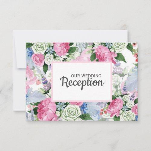 Boho pink lavender blue meadow WEDDING RECEPTION RSVP Card
